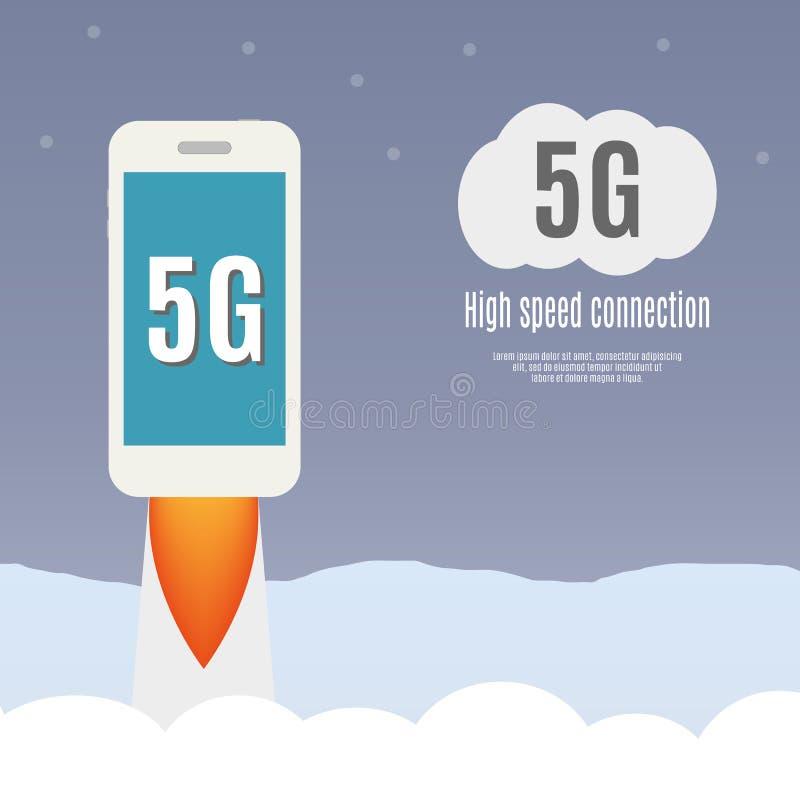 Schablone 5g mit Smartphonefliegen lizenzfreie abbildung