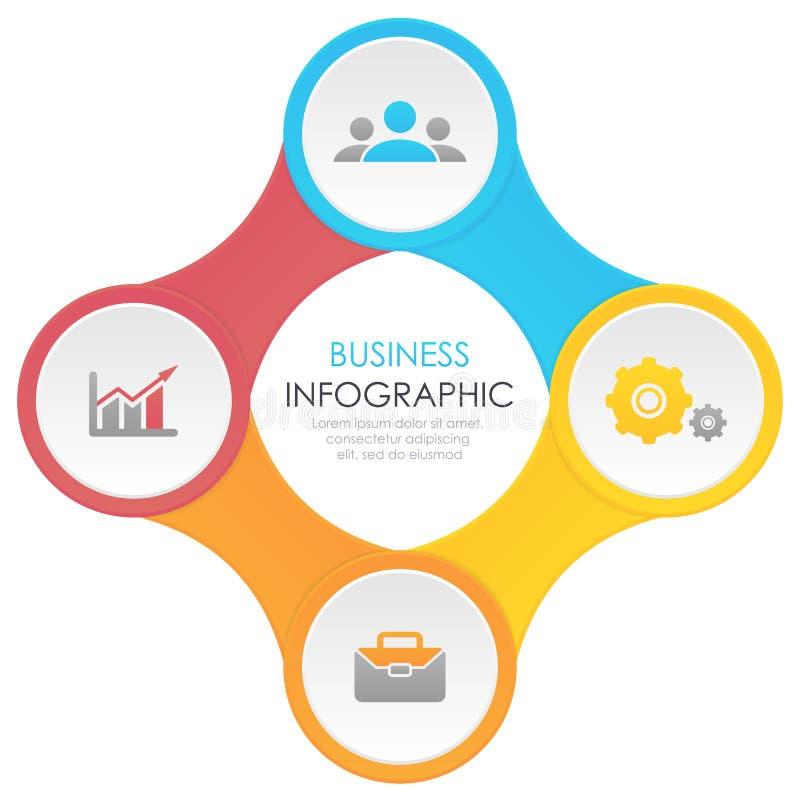 Schablone infographic mit 4 Elementen, Schritten, Wahlen, Teilen oder Prozessen vektor abbildung