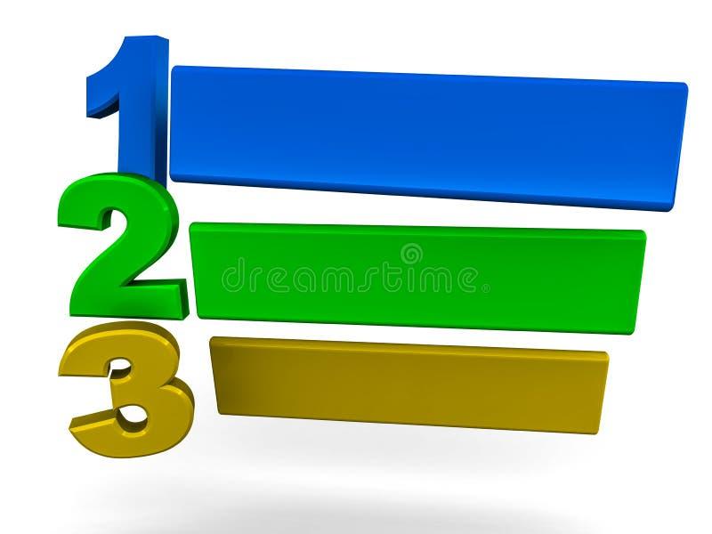 Schablone mit 123 Jobstepps lizenzfreie abbildung