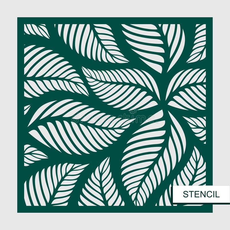 Schablone mit Blättern Vektorschattenbild des Elements lizenzfreie abbildung