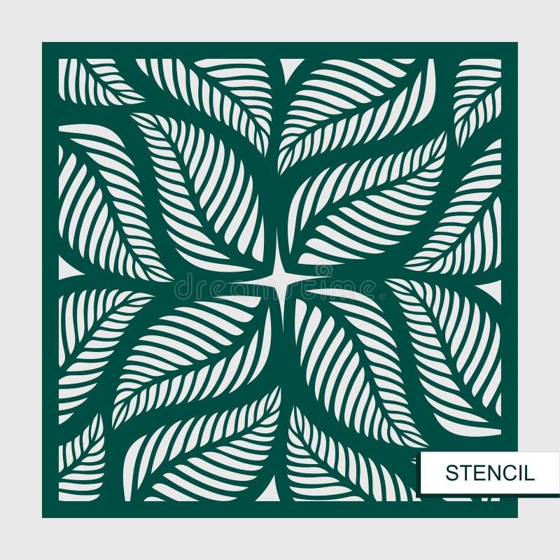 Schablone mit Blättern Vektorschattenbild des Elements stock abbildung