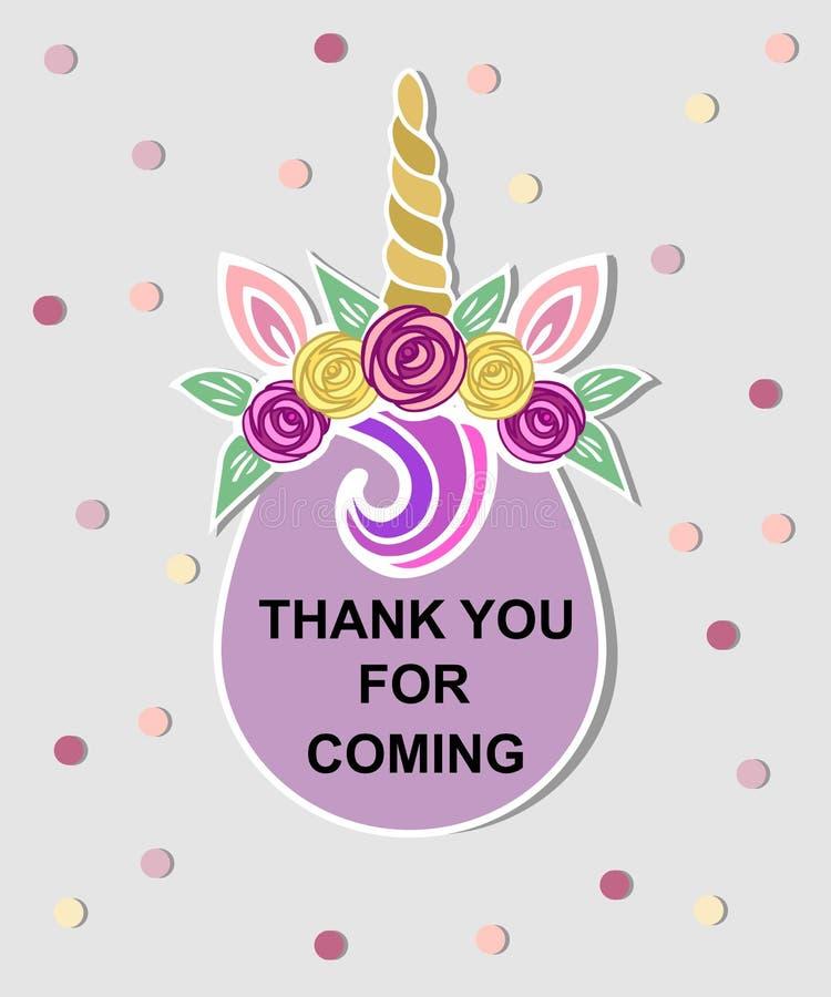 Schablone mit Einhorntiara für Parteieinladung, Babyparty, danke zu kardieren, Grußkarte stock abbildung