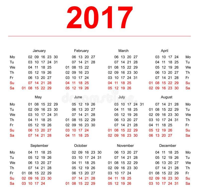 Schablone mit 2017 Kalendern Vertikale Wochen Erster Tag Montag lizenzfreie abbildung