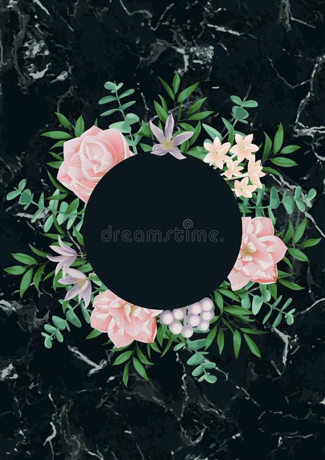 Schablone mit rundem Rahmen und rosa Blumen auf schwarzem Marmor lizenzfreie abbildung