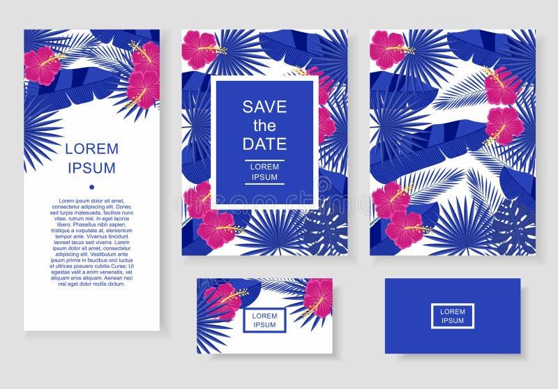 Schablone mit tropischen Blumen und Blättern Kopieren Sie Flieger, Einladung, Flieger, Visitenkarte stock abbildung