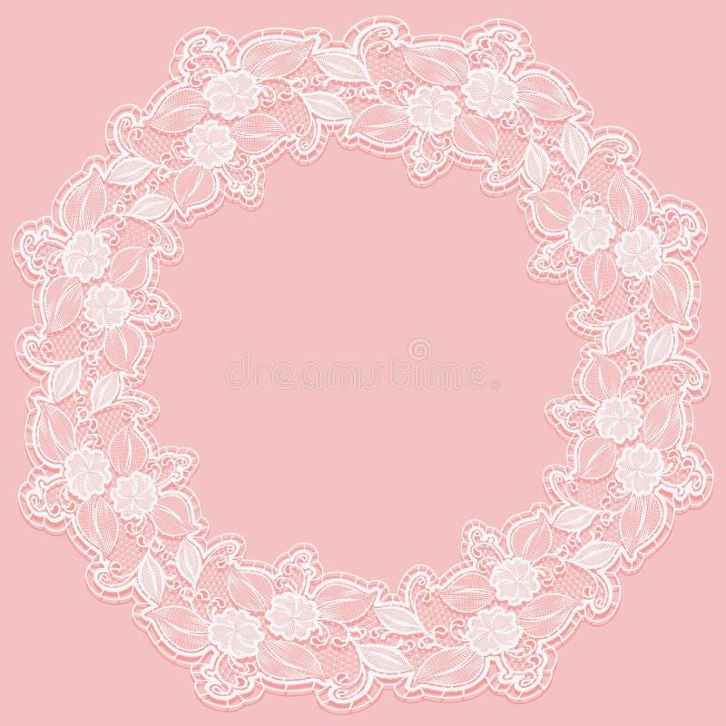 Schablone mit weißem Spitzerahmen für Karte oder Einladung Kreisverzierung von openwork Blumen auf einem rosa Hintergrund stock abbildung