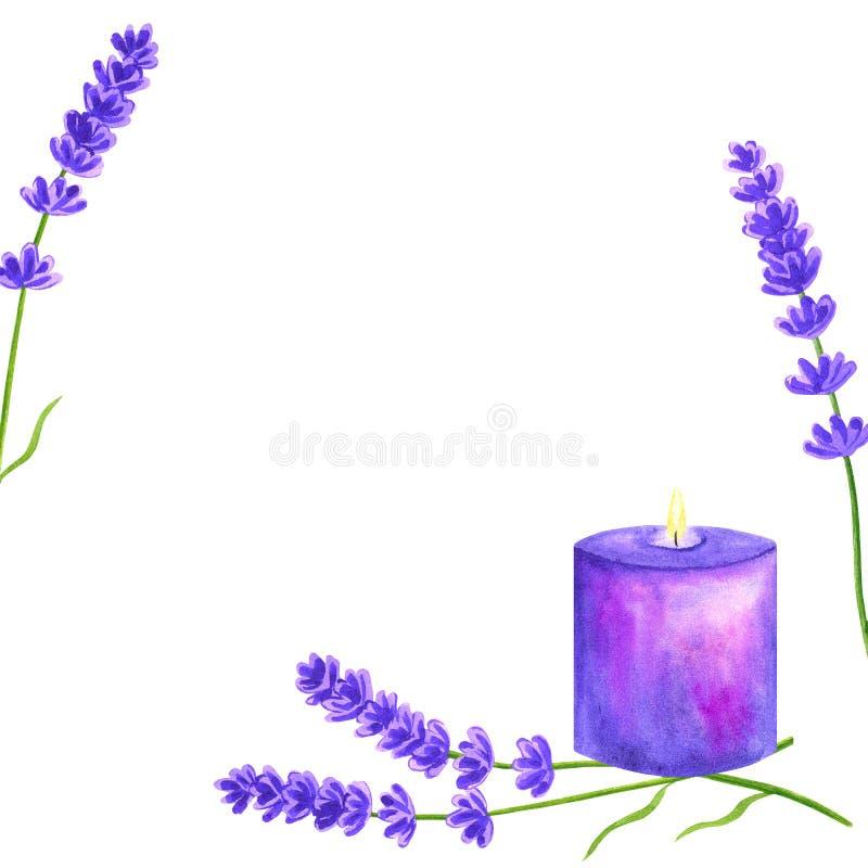 Schablone oder Hintergrund mit Lavendelblumen und purpurroter violetter brennender Kerze Hand gezeichnete Aquarellillustration lizenzfreies stockbild