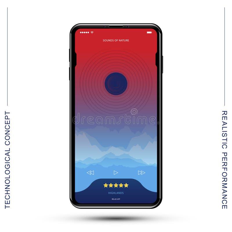 Schablone realistischer Smartphone mit beweglicher Musik-APP Flache Vektorillustration ENV 10 lizenzfreie abbildung