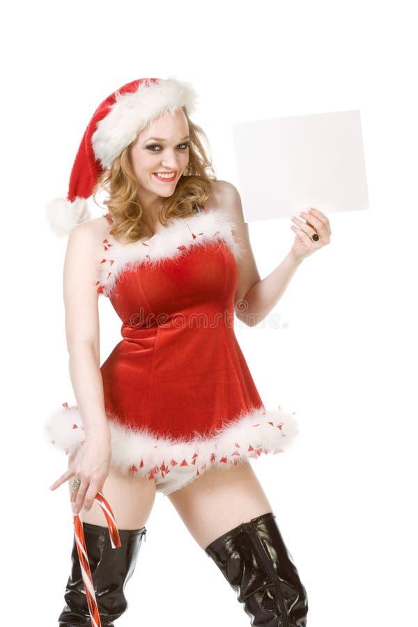 Schablone - Stift herauf Mrs Weihnachtsmann mit Zuckerstange lizenzfreies stockbild