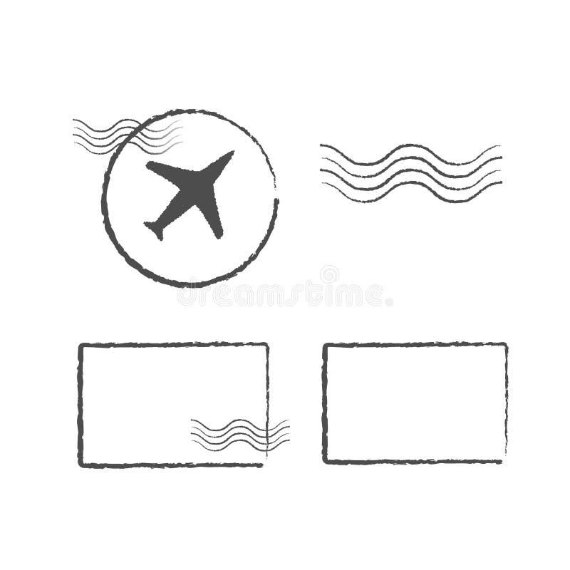 Schablone von Reisestempeln, Reisedichtungen Kennzeichen vom Flughafen, Wasserzeichen lizenzfreie abbildung