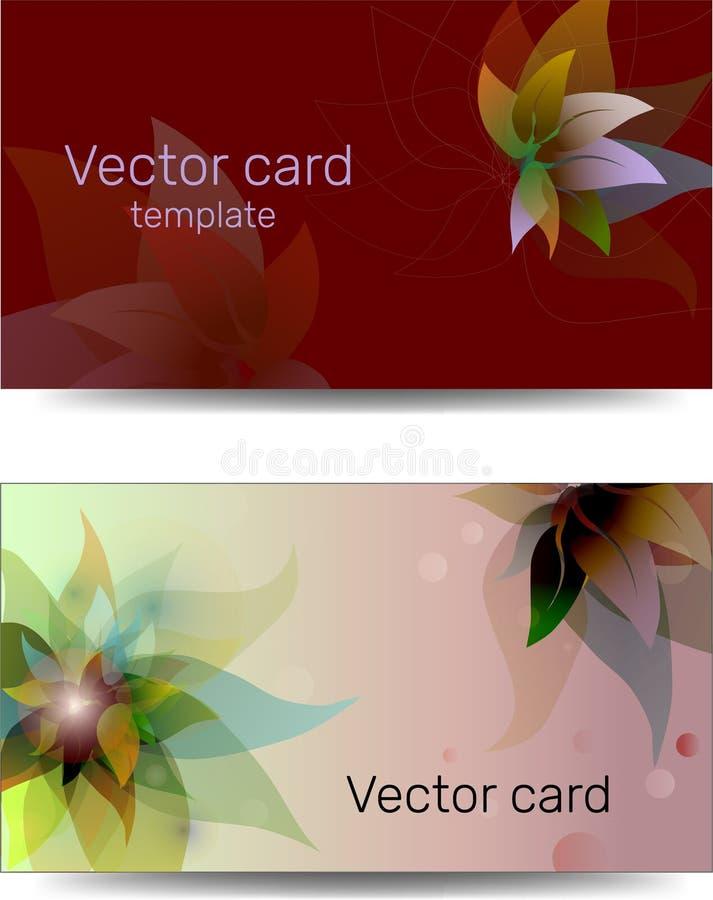 Schablone von Visitenkarten in den roten Schatten mit Blumenverzierung Text-Rahmen stock abbildung
