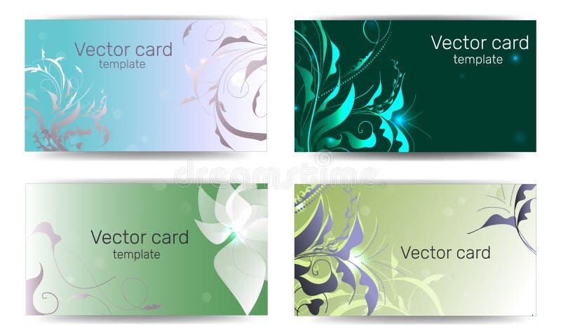 Schablone von Visitenkarten in der gr?nen Farbe mit einem Gestaltungselement Text-Rahmen Illustration des Vektor EPS10 vektor abbildung