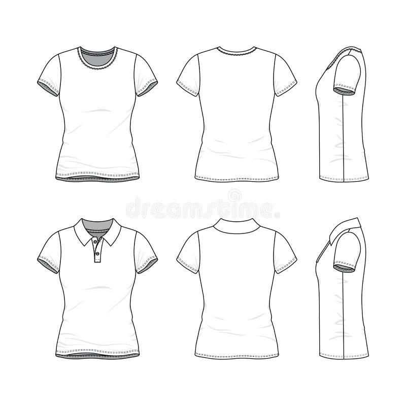 Schablonen des weiblichen T-Shirts und des Polohemdes lizenzfreie abbildung