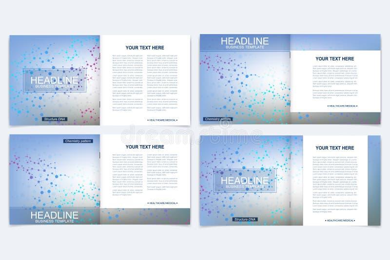 Schablonen für quadratische Broschüre Broschürenabdeckungsdarstellung Geschäft, Wissenschaft, Technologiedesign-Buchplan wissensc lizenzfreie abbildung