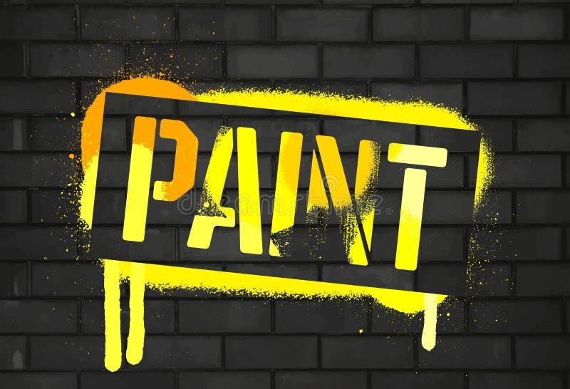 Schablonen-Farbenaufschrift Farbgraffitidruckschwarzbacksteinmauer Vektorentwurfs-Straßenkunst lizenzfreie abbildung