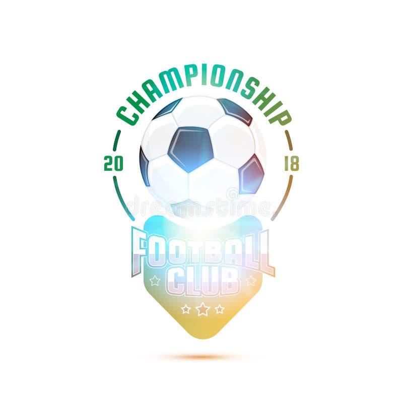 Schablonen-Fußball Logo Design Meisterschaftsfußballverein lizenzfreie abbildung
