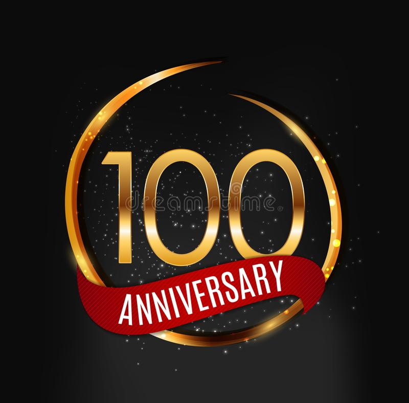 Schablonen-Goldlogo 100 Jahre Jahrestags-mit roter Band-Vektor-Illustration lizenzfreie abbildung