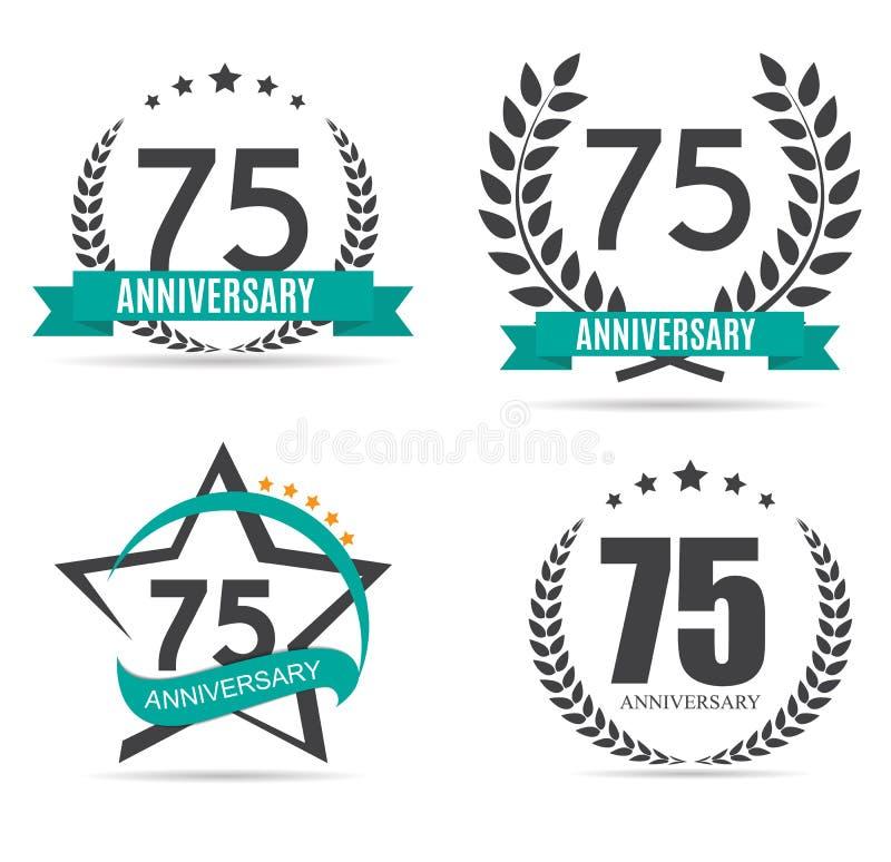 Schablonen-Logo 75 Jahre Jahrestags-Vektor-Illustrations- lizenzfreie abbildung