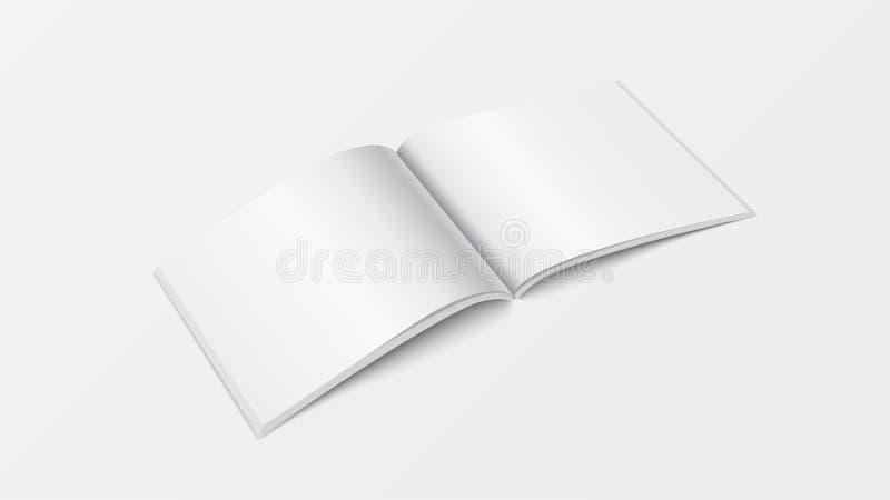 Schablonen-Perspektivenansicht des offenen Buches des Modells 3d Leere weiße Farbe der Broschüre auf weißem Hintergrund für den D stock abbildung