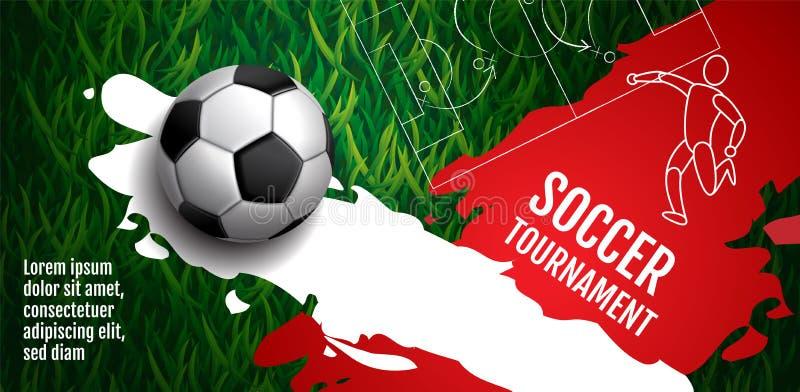 Schablonen-Sport-Plan-Design, flaches Design, einzelne Zeile, grafische Illustration, Fu?ball, Fu?ball, Vektor-Illustration stock abbildung