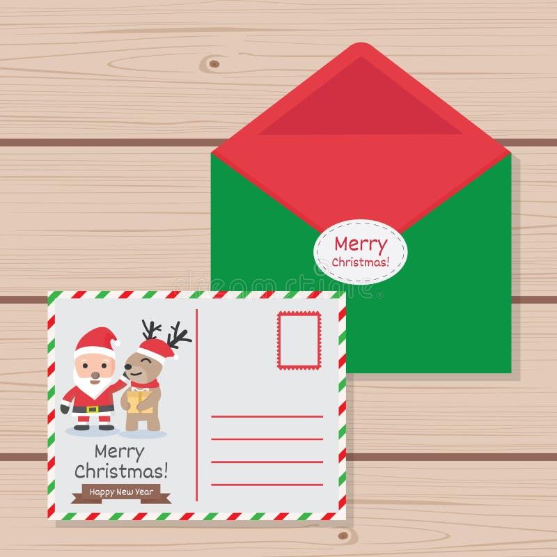 Schablonen-Weihnachtsbrief zu nettem vektor abbildung