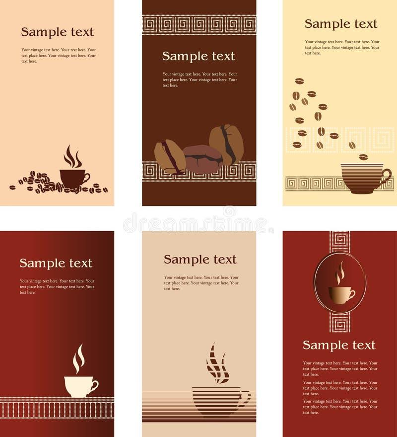 Schablonenauslegungen der Visitenkarte für Kaffeestube lizenzfreie abbildung