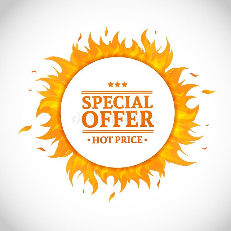 Schablonendesign-Kreisfahne mit Sonderverkauf Karte für heißes Angebot mit Rahmenfeuergraphik Werbungsplakatplan vektor abbildung