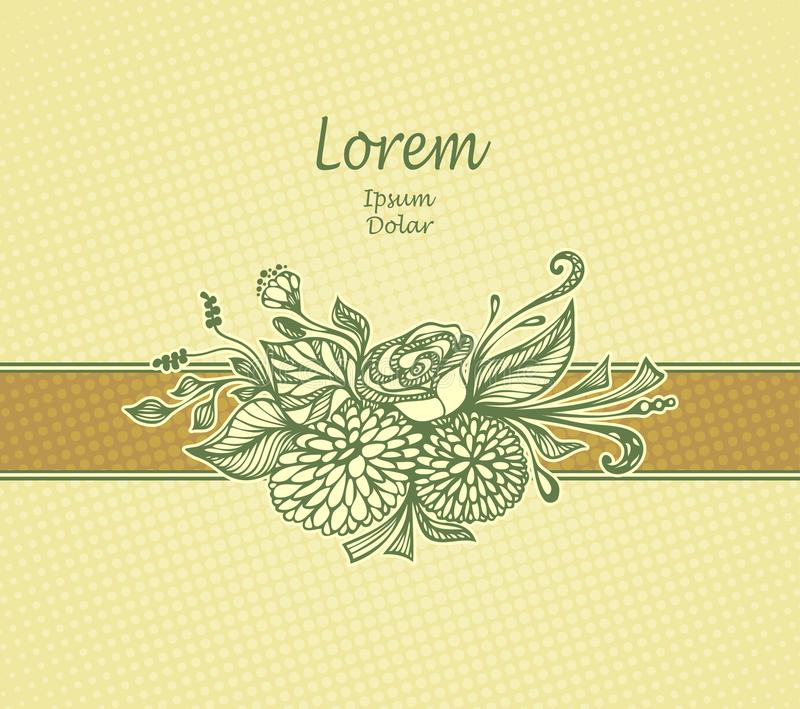 Schablonendesign Paket oder Postkarte mit der gezeichneten Hand blüht Blumenstrauß in der beige Olive lizenzfreie abbildung