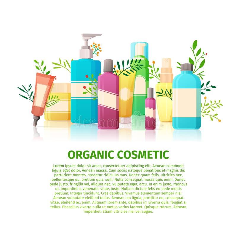 Schablonendesignfahne, Broschüren, Poster über die organischen Kosmetik Naturschönheitsprodukte für die Haut kosmetik stock abbildung