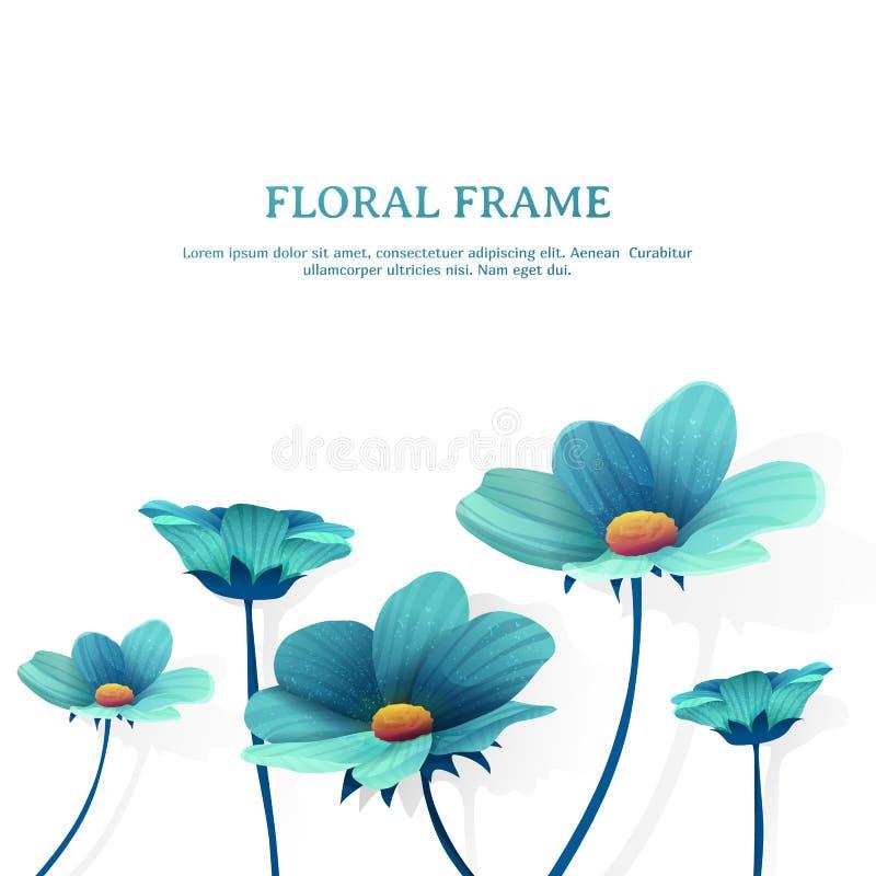 Schablonendesignfahne mit Blumendekor Platz für Sie Text Blauer Blumenrahmen des Sommers Vektor lizenzfreie abbildung