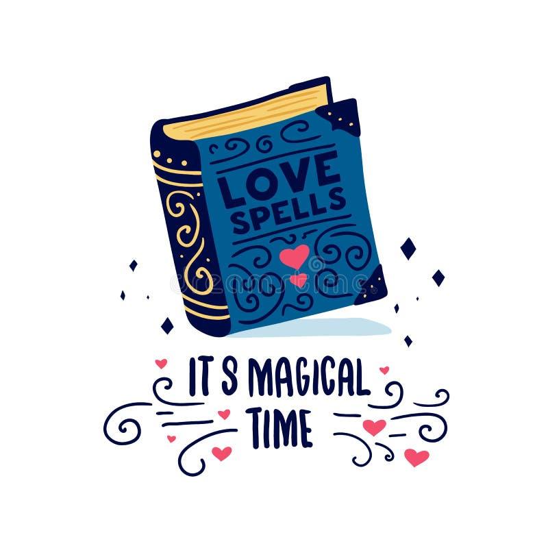 Schablonendesignfahne mit Gekritzelbuch Es ` s magisches Zeitplakat mit netter Buchliebe buchstabiert Illustration für lov stock abbildung
