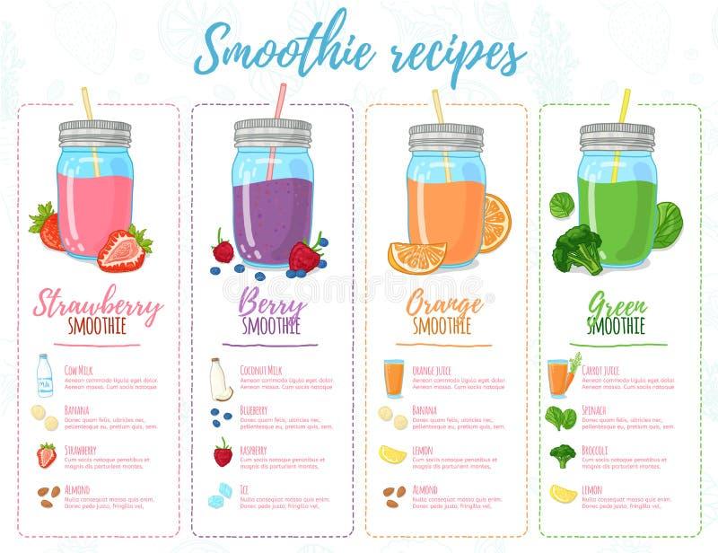 Schablonendesignfahnen, Broschüren, Menüs, Flieger Smoothierezepte Entwerfen Sie Menü mit Rezepten und Bestandteile für a stock abbildung