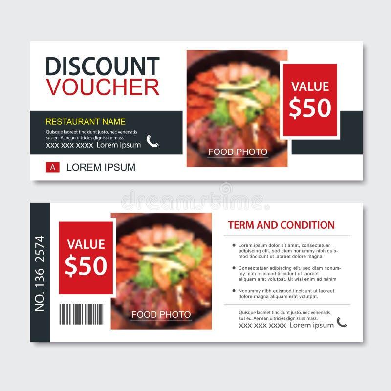 Schablonenentwurf des Rabattgeschenkgutscheins asiatischer Nahrungsmittel Koreanischer und japanischer Satz Gebrauch für Kupon,  lizenzfreie abbildung