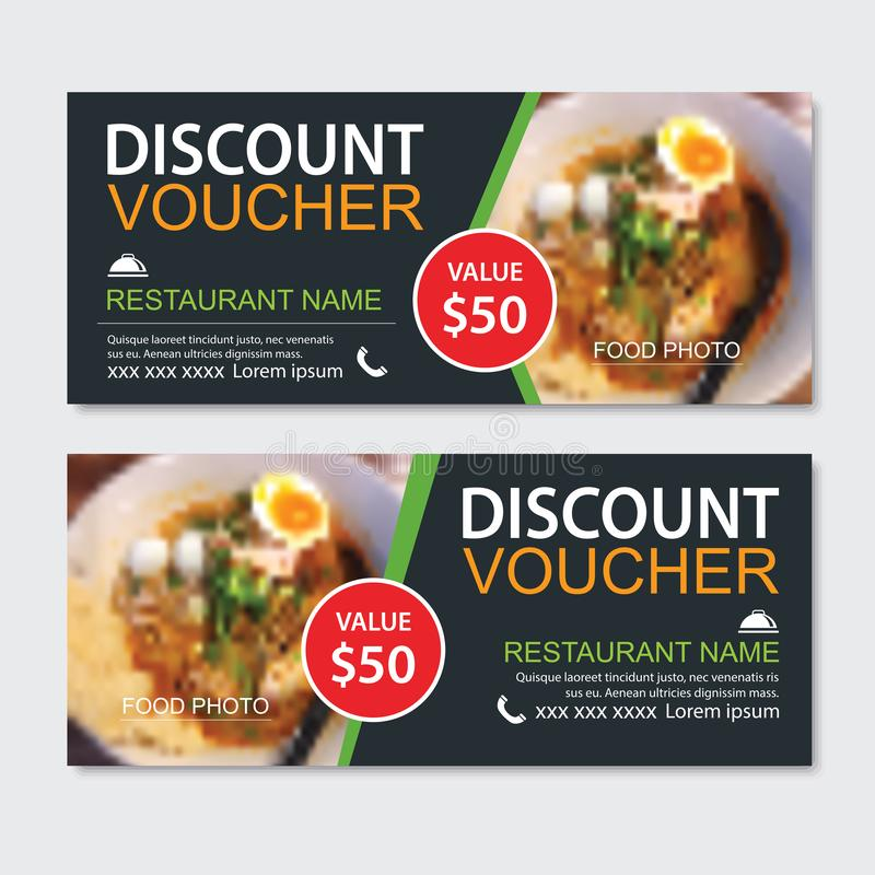 Schablonenentwurf des Rabattgeschenkgutscheins asiatischer Nahrungsmittel Nudelsatz Gebrauch für Kupon, Fahne, Flieger, Verkauf, stock abbildung