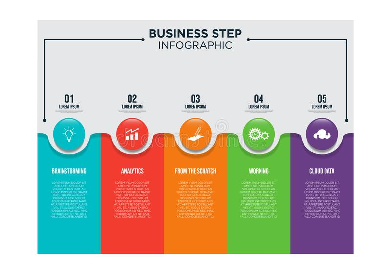 Schablonenentwurfs-Vektorillustration des Geschäftsschrittes infographic lizenzfreie abbildung