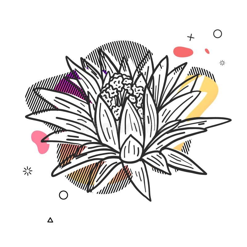 Schablonenentwurfsdruck mit Blumenlinie graphik Plakat mit moderner abstrakter Steigungsform mit Blumenblüte lizenzfreie abbildung
