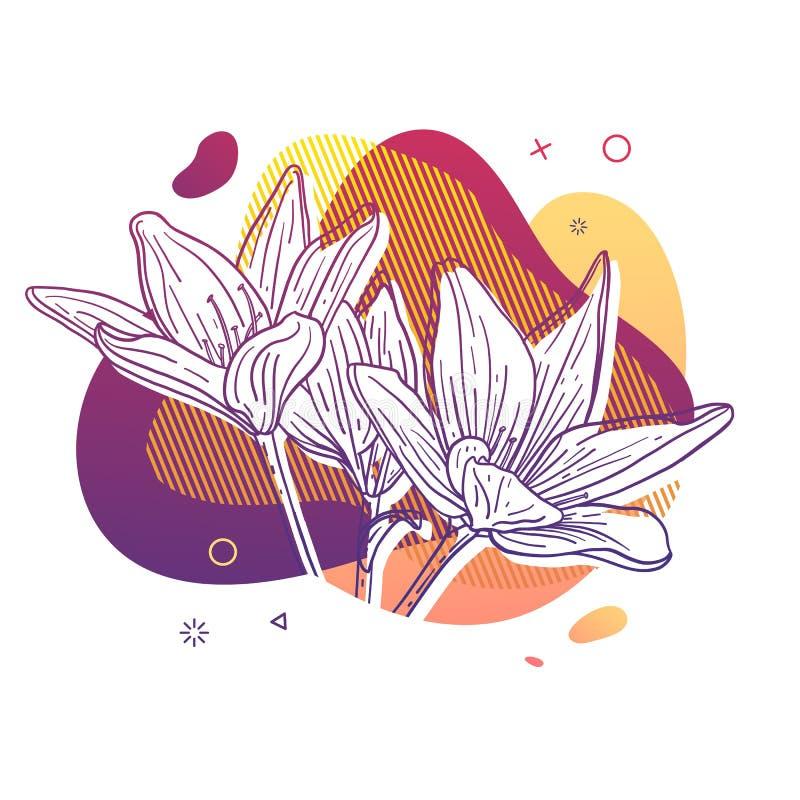 Schablonenentwurfsdruck mit Blumenlinie Plakat mit moderner abstrakter Steigungsform mit Lilienblüte Illustration für t vektor abbildung