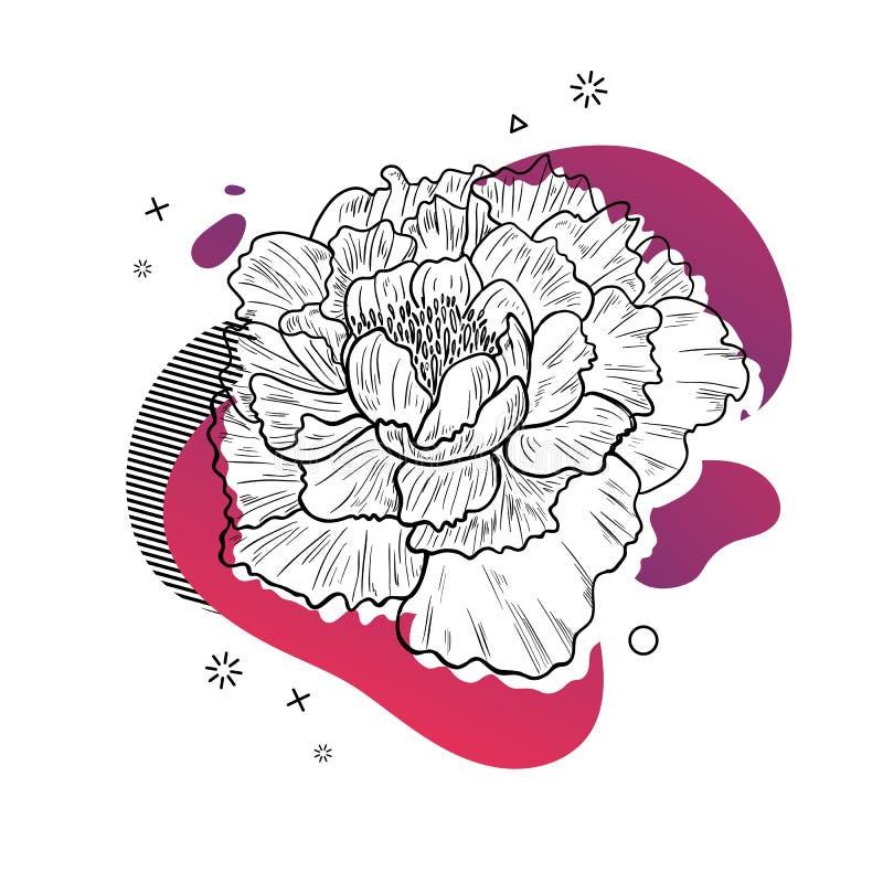 Schablonenentwurfsdruck mit Blumenlinie Plakat mit moderner abstrakter Steigungsform mit Pfingstrosenblüte Illustration für lizenzfreie abbildung