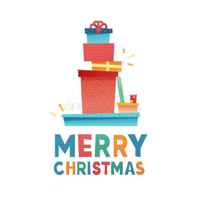 Schablonenentwurfsfahne für Angebot der frohen Weihnachten Plan des neuen Jahres mit Geschenkboxdekor für Postkarte Glückliches h lizenzfreie abbildung