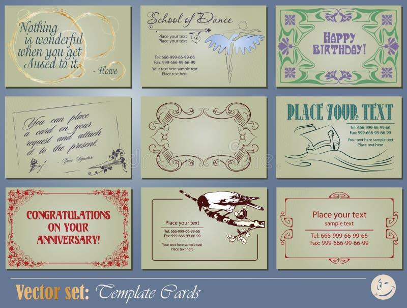 Schablonengeschäft und Geschenkkarten stock abbildung