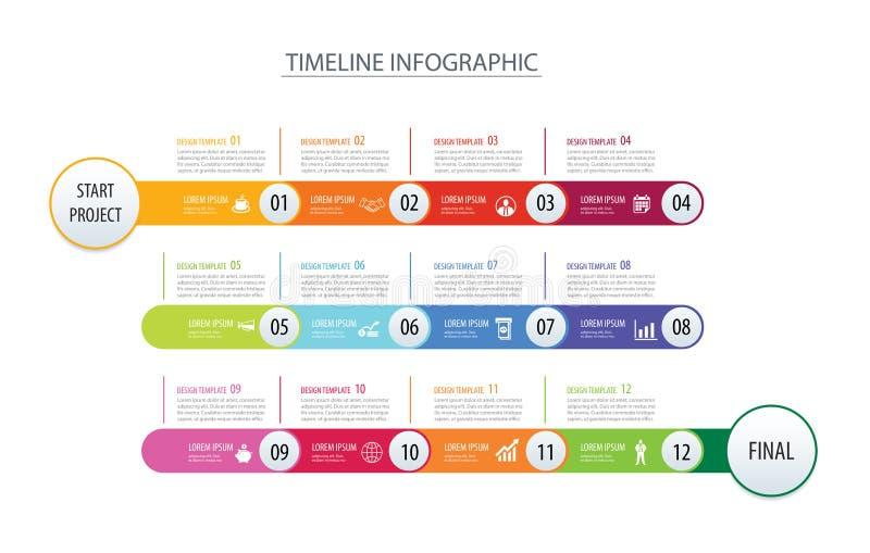 Schablonengeschäfts-Konzeptpfeile Infographic-Zeitachse 1-jährige Vec lizenzfreie abbildung
