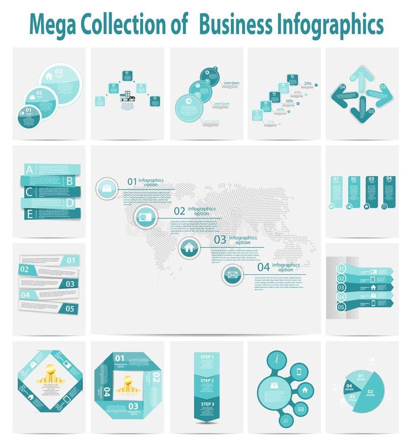 Schablonengeschäftskonzept-Vektorkranke der Mega- Sammlung infographic lizenzfreie abbildung