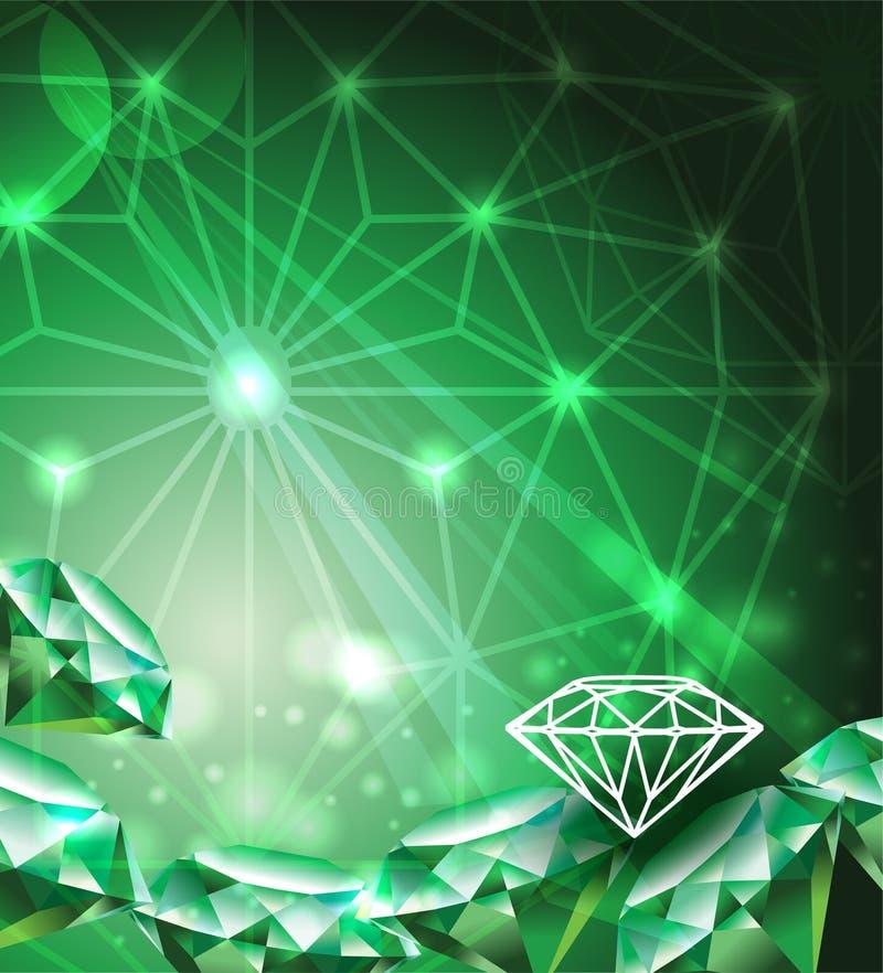 Schablone mit grünem Smaragd lizenzfreie abbildung
