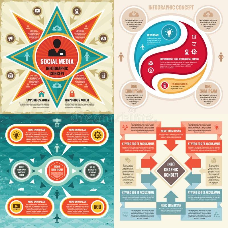 Schablonenkonzept-Vektorillustration des Geschäfts infographic Abstraktes Fahnenset Werbungsförderungs-Plansammlung vektor abbildung