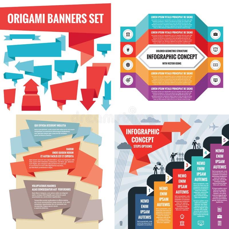Schablonenkonzept-Vektorillustration des Geschäfts infographic Abstraktes Fahnenset Werbungsförderungs-Plansammlung lizenzfreie abbildung