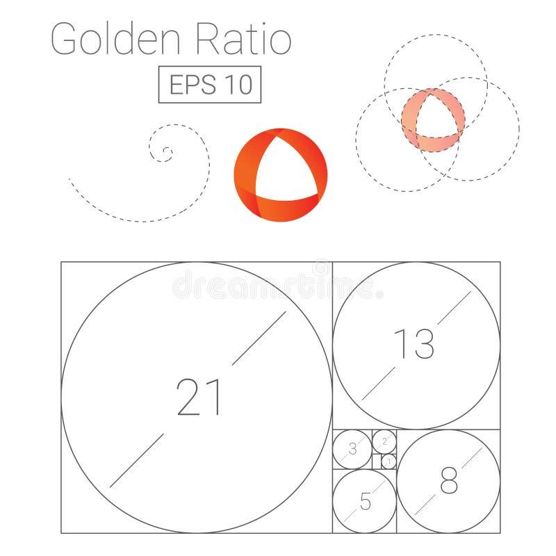 Schablonenlogo-Vektorillustration des goldenen Schnitts vektor abbildung