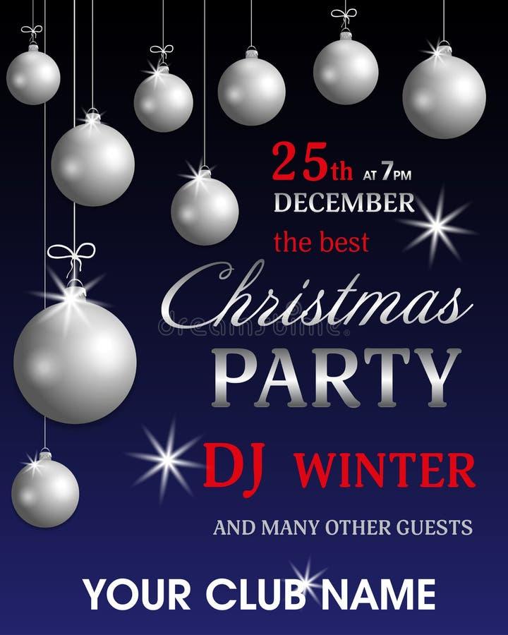 Schablonenplakat-Einladung Weihnachtsfest und neues Jahr mit silbernen Bällen Feiertagsfliegerdesign Vektor lizenzfreie abbildung