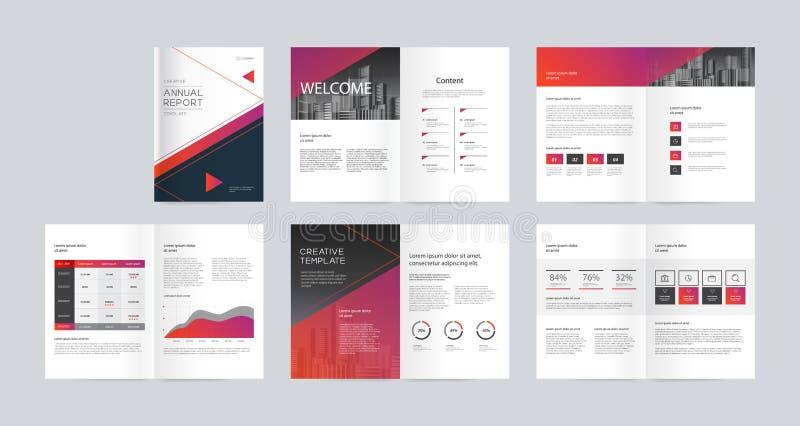 Schablonenplanentwurf mit Deckblatt für Unternehmensprofil, Jahresbericht, Broschüren, Flieger, Darstellungen, Broschüre, Zeitsch vektor abbildung