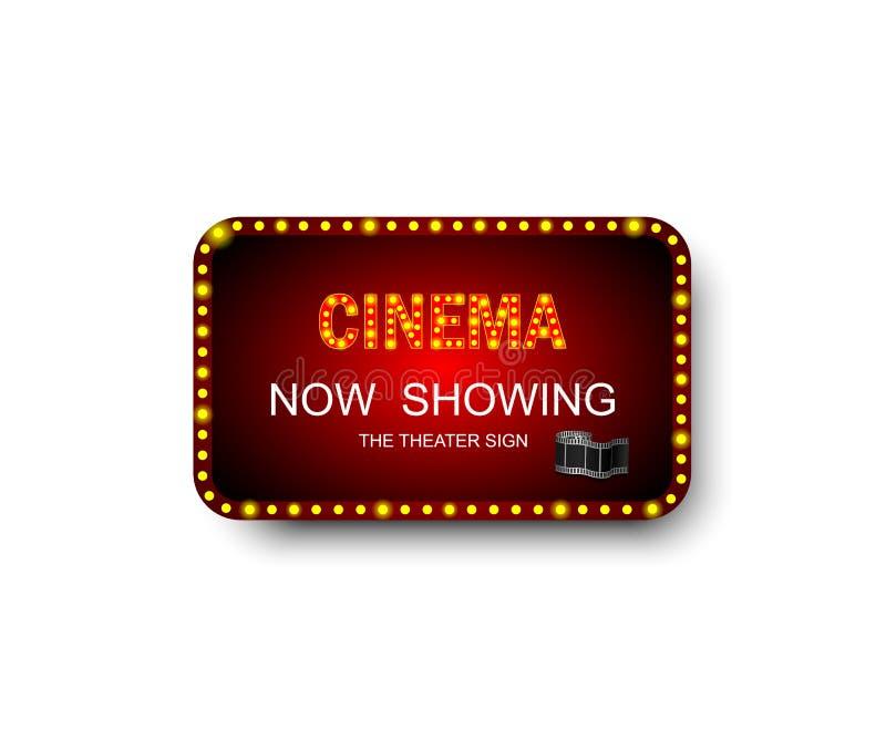 Schablonenschild Kino mit Schatten Theater-Zeichen Kino- oder Theaterkastenrahmen für Anzeigen Fahne, Anschlagtafel oder Schild f lizenzfreie abbildung