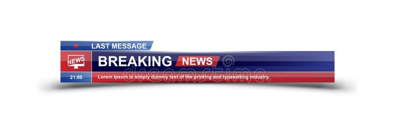 Schablonentitel der letzten Nachrichten auf weißem Hintergrund für Schirm Fernsehkanal Flache Illustration eps10 lizenzfreie abbildung